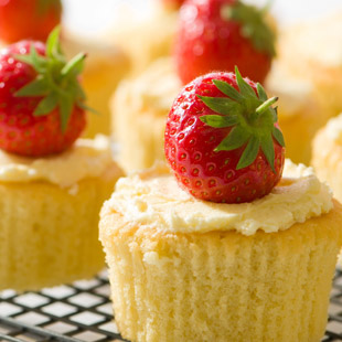 Cupcakes with strawberry on top