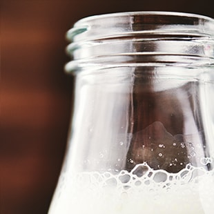 Close up of milk bottle